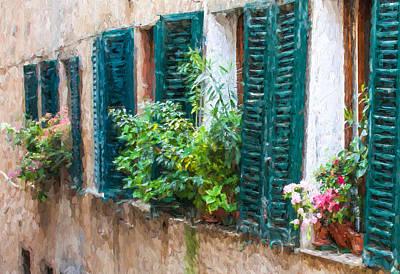 Cortona Window Flowers Poster by David Letts