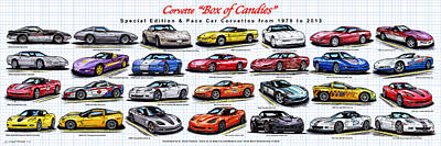Corvette Box Of Candies - Special Edition And Indy 500 Pace Car Corvettes Poster by K Scott Teeters