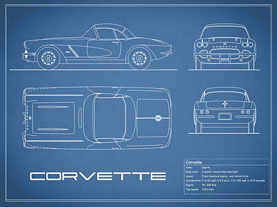 Corvette C1 Blueprint Poster by Mark Rogan