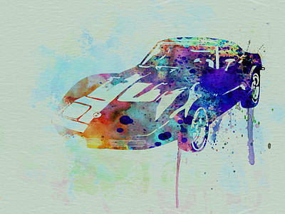Corvette Watercolor Poster by Naxart Studio