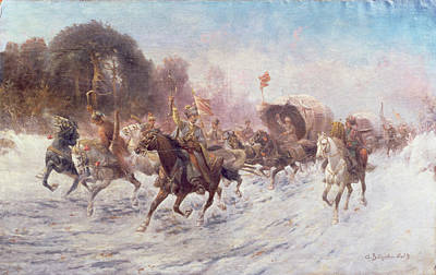 Cossacks In A Winter Landscape   Poster by Anton Baumgartner Stoiloff