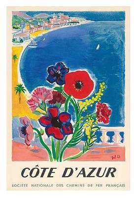 1947 Cote D'azur French Riviera Vintage World Travel Poster Poster by Retro Graphics