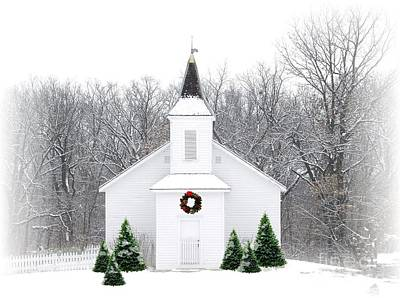 Country Christmas Church Poster by Carol Sweetwood