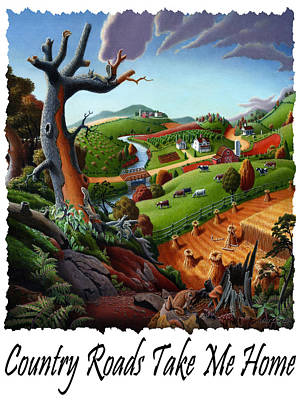 Country Roads Take Me Home T Shirt - Autumn Wheat Harvest Country Farm Landscape Poster by Walt Curlee