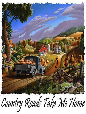 Country Roads Take Me Home - Taking Pumpkins To Market Rural Farm Landscape Poster by Walt Curlee