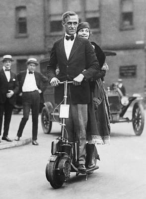 Couple Riding An Autoped Poster by Underwood Archives