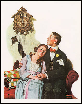 Courting Couple At Midnight Border Poster by Norman Rockwell