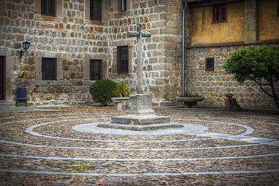 Courtyard At Convent Of The Incarnation Poster by Joan Carroll