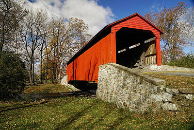 Covered Bridge At Poole Forge Poster by William Jobes