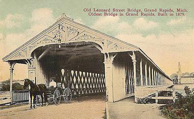 Covered Bridge - Old Leonard Street Bridge Grand Rapids, Michigan Poster by Steven Covieo