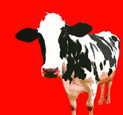 Cow In Red World Poster by Peter Oconor