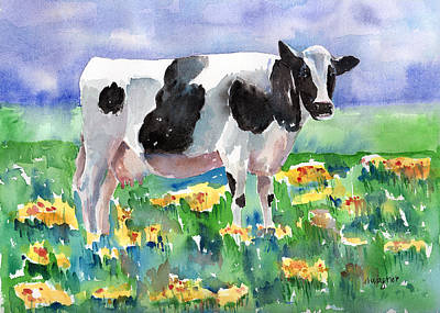 Cow In The Meadow Poster by Arline Wagner