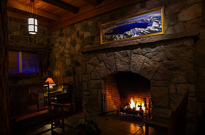 Crater Lake Lodge Fireside Relaxation Poster by Scott McGuire