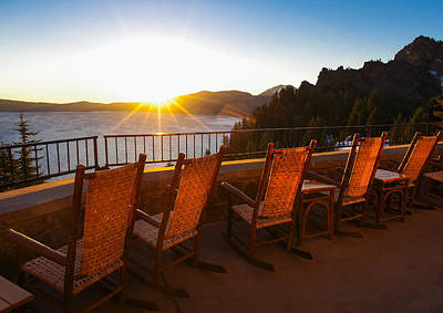 Crater Lake Lodge Porch Sunrise Poster by Scott McGuire