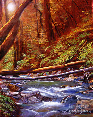 Creek Crossing Poster by David Lloyd Glover