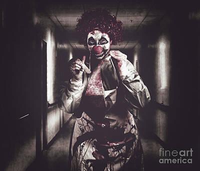Creepy Medical Clown In Grunge Hospital Hallway Poster by Jorgo Photography - Wall Art Gallery