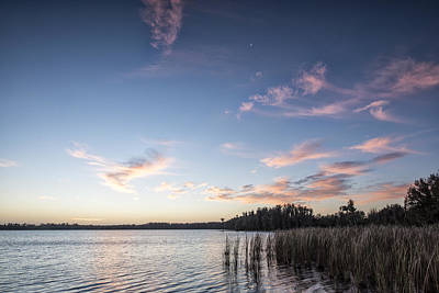 Crescent  Over The Lake Poster by Jon Glaser
