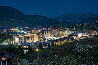 Crested Butte Village Under Full Moon Poster by Michael J Bauer