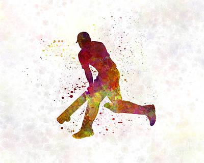 Cricket Player Batsman Silhouette 03 Poster by Pablo Romero