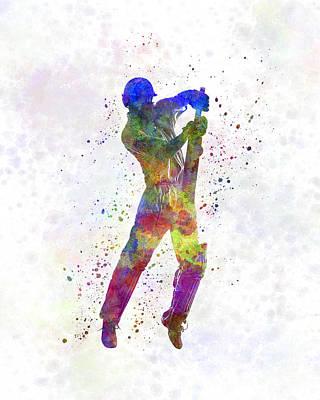 Cricket Player Batsman Silhouette 05 Poster by Pablo Romero