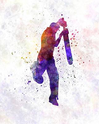 Cricket Player Batsman Silhouette 09 Poster by Pablo Romero