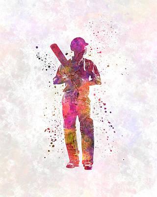 Cricket Player Batsman Silhouette 10 Poster by Pablo Romero