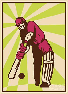 Cricket Sports Batsman Batting Retro Poster by Aloysius Patrimonio