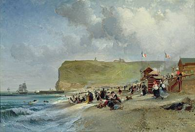 Crinolines On The Beach At Fecamp Poster by Jules Achille Noel