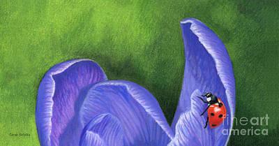 Crocus And Ladybug Detail Poster by Sarah Batalka