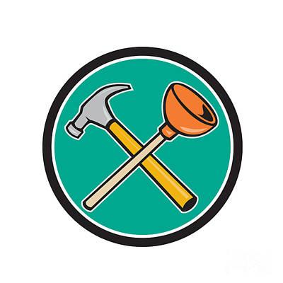 Crossed Hammer Plunger Circle Cartoon  Poster by Aloysius Patrimonio