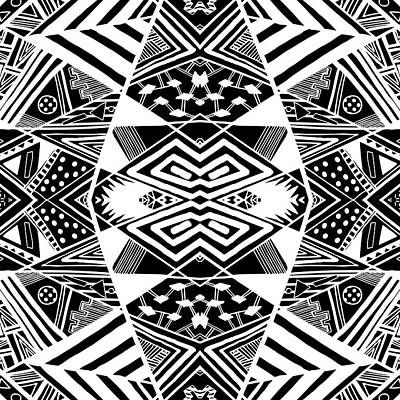 Crossroads To Ornamental - Abstract Black And White Graphic Drawing Poster by Nenad Cerovic