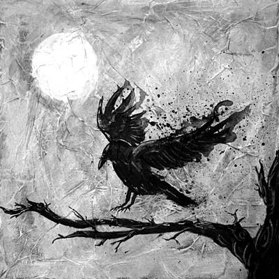 Crow By The Light Of The Moon - Greyscale Poster by Keita Thomas