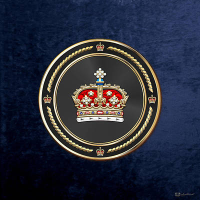 Crown Of Scotland Over Blue Velvet Poster by Serge Averbukh