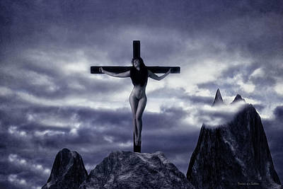 Crucifixion On The Mountain Poster by Ramon Martinez
