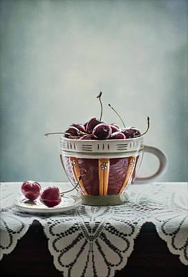 Cup Of Cherries Poster by Maggie Terlecki