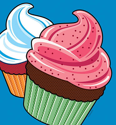 Cupcakes On Blue Poster by Ron Magnes