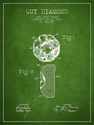 Cut Diamond Patent From 1910 - Green Poster by Aged Pixel