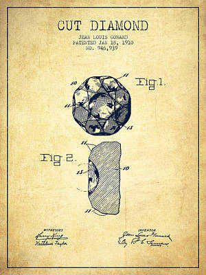 Cut Diamond Patent From 1910 - Vintage Poster by Aged Pixel