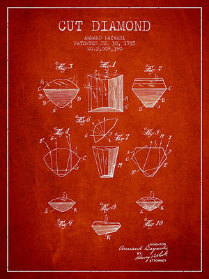 Cut Diamond Patent From 1935 - Red Poster by Aged Pixel