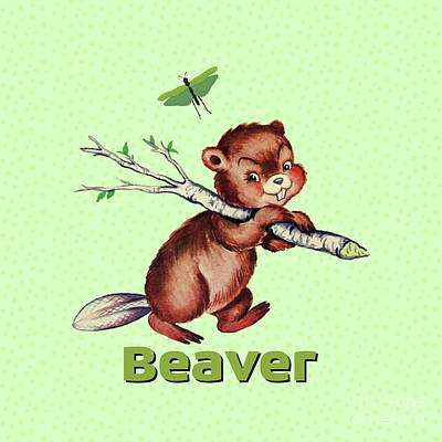 Cute Baby Beaver Pattern Poster by Tina Lavoie