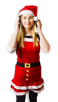 Cute Christmas Girl Listening To Holiday Music  Poster by Jorgo Photography - Wall Art Gallery