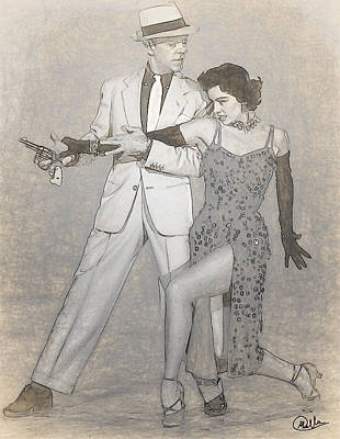 Cyd Charisse - Fred Astaire Drawn Poster by Quim Abella