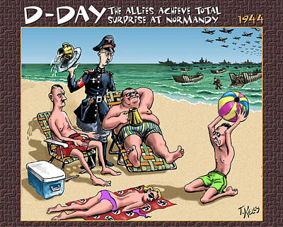 D-day - The Allies Achieve Total Surprise At Normandy Poster by Travis Kelly