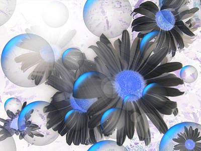 Daisy Bubbles Poster by Roxy Riou