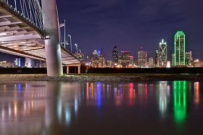 Dallas Along Side The Margaret Hunt Hill Bridge Poster by Frozen in Time Fine Art Photography