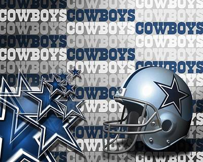 The Dallas Cowboys Football Team Helmet And Stars Poster by Donna Wilson