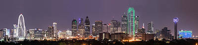 Dallas Skyline At Night Pano Poster by Tod and Cynthia Grubbs