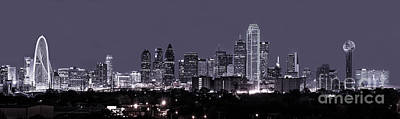 Dallas Skyline Pano Bw Poster by Tod and Cynthia Grubbs