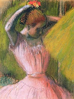 Dancer Arranging Her Hair Poster by Edgar Degas