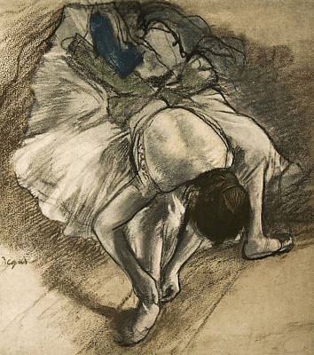 Dancer Tying Her Shoe Poster by Edgar Degas